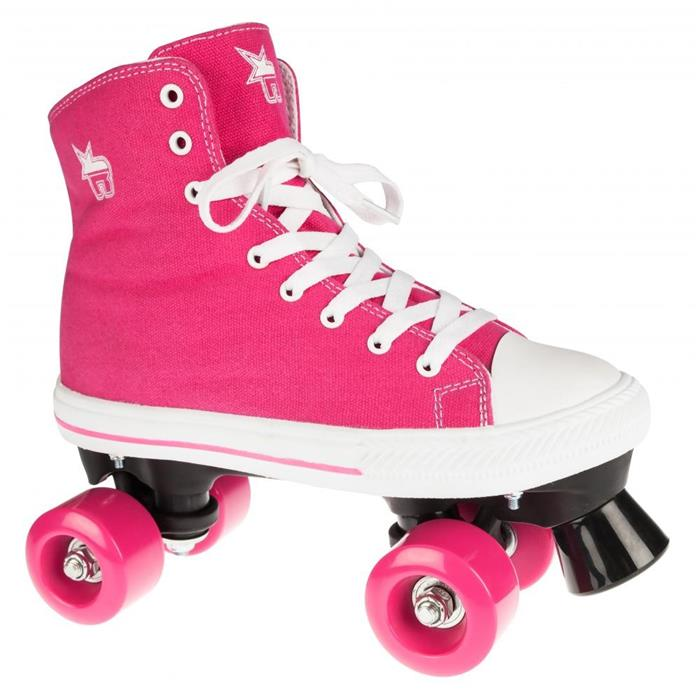 patin-complet-roller-quad-rookie-rollerskates-canvas-high-pink