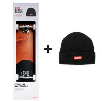 Pack Skateboard Complet ARGO Boxed GLOBE (Skate Complet + Bonnet) Red Maple Black