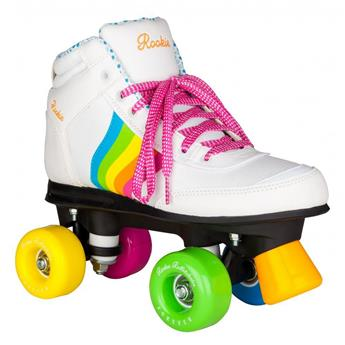 Patin complet Roller Quad  ROOKIE ROLLERSKATES Forever Rainbow White Roller Quad
