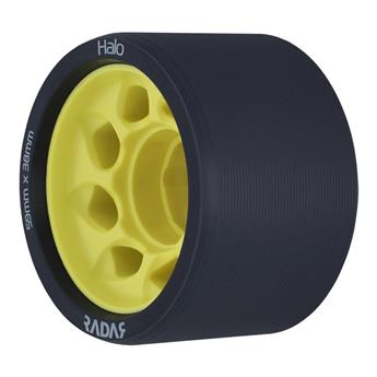 Roues Roller Derby RADAR WHEELS Halo 91A 59mmx38mm Yellow Noir Jaune