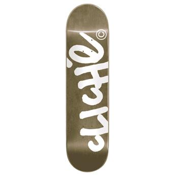 Plateau skate CLICHÉ SKATEBOARDS handwritten gold white 8.25 x 31.9