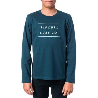 T shirt Enfant RIPCURL BASIC GRADIAN LOGO LS TEE 1037 MIDNIGHT  manches longues NAVY